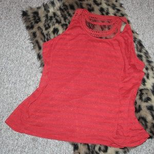 Coral Tank with crochet upper back